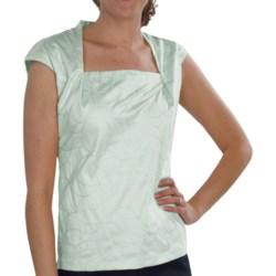 Lafayette 148 New York Giada Embroidered Shirt - Interlock Cotton, Short Sleeve (For Women) in Petal
