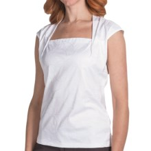 Lafayette 148 New York Giada Embroidered Shirt - Interlock Cotton, Short Sleeve (For Women) in White - Closeouts