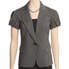 Lafayette 148 New York Hollis Jacket - Polished Wool Pinstripe (For Women) in Black Multi - Closeouts