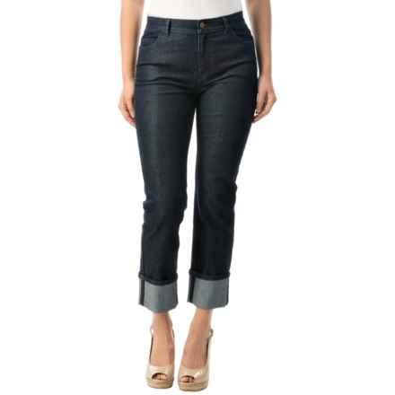 Lafayette 148 New York Italian Denim Curvy Cuffed Crop Jeans (For Women) in Midnight - Closeouts