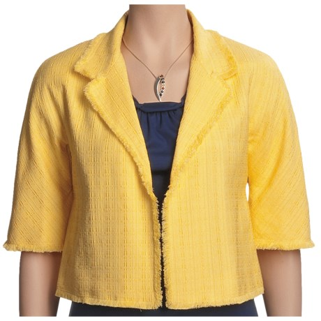 Lafayette 148 New York Jacquard Jacket - Open Front, Cotton-Rich (For Women) in Ray