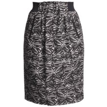 Lafayette 148 New York Jacquard Skirt - Linen-Rich, Paperbag Waist (For Women) in Black Multi - Closeouts