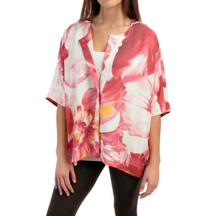Lafayette 148 New York Jordanna Silk Blouse - Elbow Sleeve (For Women) in Rose Multi - Closeouts