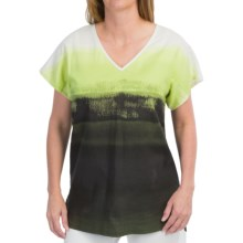 Lafayette 148 New York Lanai Linen Blend Shirt - Short Sleeve (For Women) in Scallion Multi - Closeouts