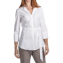 Lafayette 148 New York Lane Shirt - 3/4 Sleeve (For Women) in White - Closeouts