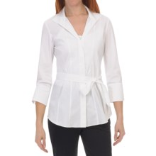 Lafayette 148 New York Leila Blouse - Italian Stretch Cotton, 3/4 Sleeve (For Women) in White - Closeouts