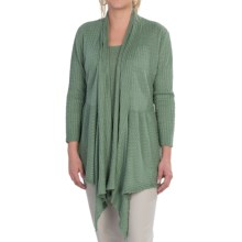 Lafayette 148 New York Lustrous Linen Cardigan Sweater - 3/4 Sleeve (For Women) in Cypr Cypress - Closeouts