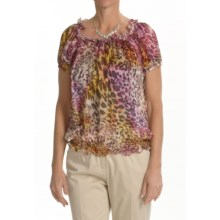 Lafayette 148 New York Marquis Blouse - Short Sleeve (For Women) in Spectrum Multi - Closeouts