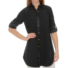 Lafayette 148 New York Matte Silk Jaycee Blouse - Long Sleeve (For Women) in Ink - Closeouts