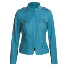 Lafayette 148 New York Metropolitan Jacket - Band Collar, Zip Front (For Women) in Parrot Blue - Closeouts