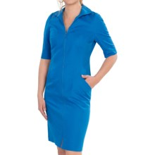 Lafayette 148 New York Metropolitan Stretch Larissa Dress - Elbow Sleeve (For Women) in Blue Grotto - Closeouts