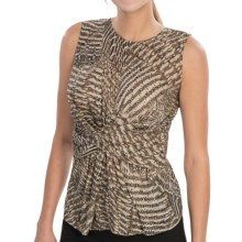 Lafayette 148 New York Nebulous Print Shirt - Silk, Sleeveless (For Women) in Khaki Multi - Closeouts