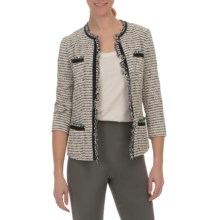 Lafayette 148 New York Palermo Parallel Weave Jacket - 3/4 Sleeve (For Women) in Khaki Multi - Closeouts
