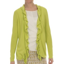 Lafayette 148 New York Petal Yarn Shirred Cardigan Sweater (For Women) in Aloe
