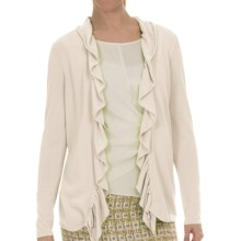 Lafayette 148 New York Petal Yarn Shirred Cardigan Sweater (For Women) in Raffia - Closeouts