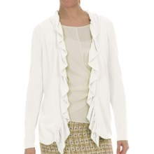Lafayette 148 New York Petal Yarn Shirred Cardigan Sweater (For Women) in White - Closeouts