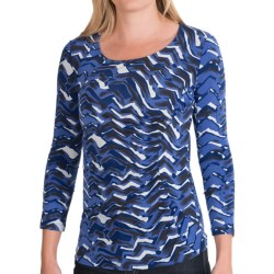 Lafayette 148 New York Printed Jersey Eclipse Shirt - 3/4 Sleeve (For Women) in Tile Blue Multi