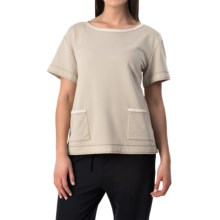 Lafayette 148 New York Relaxed Knit Shirt - Short Sleeve (For Women) in Khaki - Closeouts
