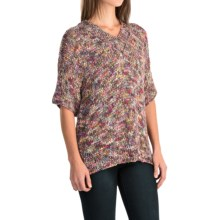 Lafayette 148 New York Relaxed Knit Sweater - Elbow Sleeve (For Women) in Dahlia Multi - Closeouts