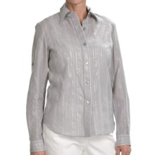 Lafayette 148 New York Shimmer Stripe Shirt - Long Sleeve (For Women) in Rain - Closeouts