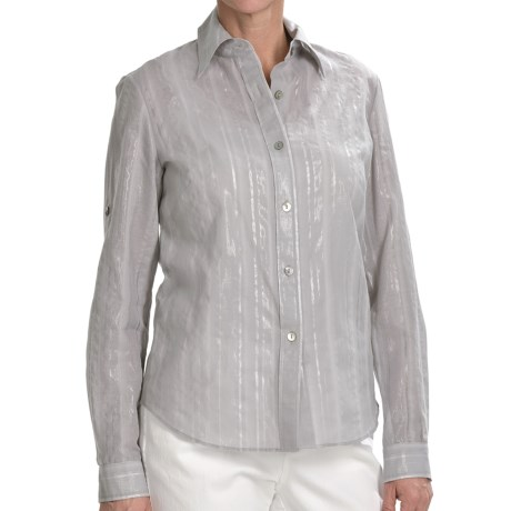 Lafayette 148 New York Shimmer Stripe Shirt - Long Sleeve (For Women) in Rain
