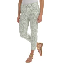 Lafayette 148 New York Shine Twill Denim Curvy Capris - Slim Leg (For Women) in Thyme Multi - Closeouts