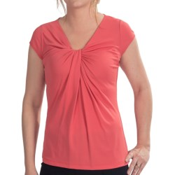 Lafayette 148 New York Silk Jersey Tucked Knot Shirt - Short Sleeve (For Women) in Rosewater
