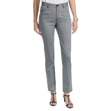 Lafayette 148 New York Static Stripe Pants - Curvy Slim Leg (For Women) in Black Multi