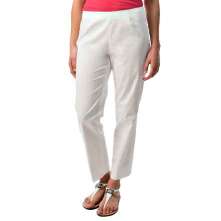 Lafayette 148 New York Stretch Cotton Sateen Ankle Pants (For Women) in White - Closeouts