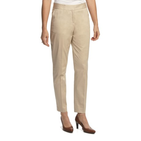 Lafayette 148 New York Stretch Sateen Pants - Slim Leg (For Women) in Stone