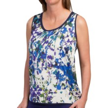 Lafayette 148 New York Talia Abstract Summer Garden Tank Top (For Women) in Neptune Multi - Closeouts