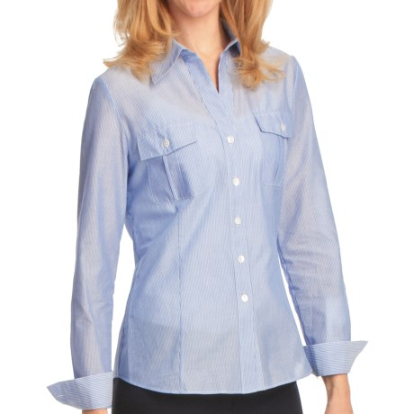 Lafayette 148 New York Watermill Stripe Shirt - Long Sleeve (For Women) in Ox Blue