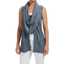 Lafayette 148 New York Wrap Collar Sweater Vest (For Women) in Denim Melange - Closeouts