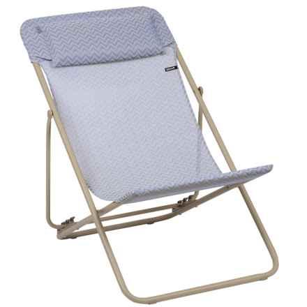 Lafuma Maxi Transat Plus Privilege Folding Sling Chair - Set of 2 in Bleuet/Sable - Closeouts