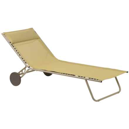 Lafuma Miami Sun Bed Folding Chaise Lounge Chair in Champagne/Sable - Closeouts