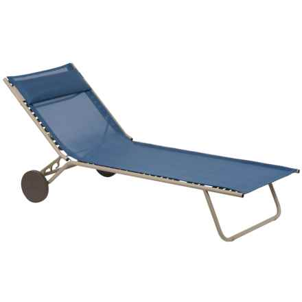 Lafuma Miami Sun Bed Folding Chaise Lounge Chair in Curacao/Sable - Closeouts