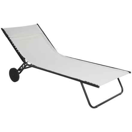 Lafuma Miami Sun Bed Folding Chaise Lounge Chair in Ecume - Closeouts