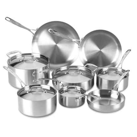 Lagostina Axia Tri-Ply Stainless Steel Cookware Set - 13-Piece in Stainless Steel - Overstock