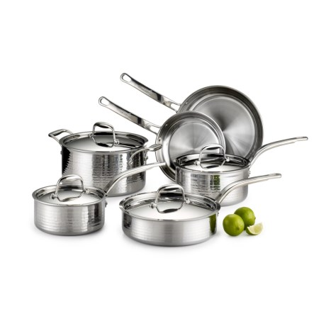 Lagostina Martellata Tri-Ply Hammered Stainless Steel Cookware Set - 10-Piece in Stainless Steel