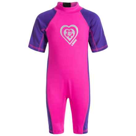 Laguna One-Piece Rash Guard - UPF 50 (For Toddlers) in Pink - Closeouts