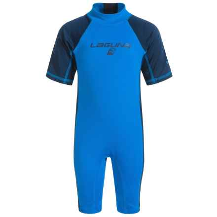 Laguna One-Piece Rash Guard - UPF 50 (For Toddlers) in Turquoise - Closeouts
