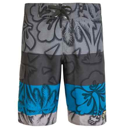Laguna Spring Break Eboard Swim Trunks - UPF 50, Built-In Mesh Briefs (For Big Boys) in Grey - Closeouts