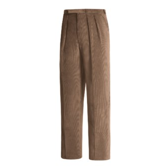 Lambourne English Corduroy Pants - Robust, Double Pleats (For Men) in Mushroom