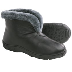 LAMO Bridget Bootie Slippers - Leather, Merino Shearling Lining (For Women) in Chocolate