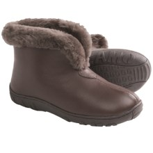 Lamo Bridget Bootie Slippers - Leather, Merino Shearling Lining (For Women) in Chocolate - Closeouts