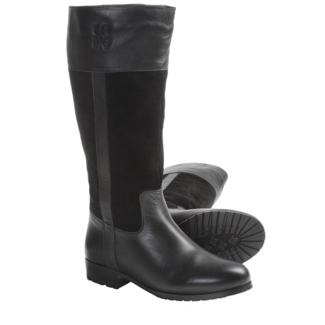 Lamo Brittany Tall Boots - Suede-Leather, Sheepskin-Lined (For Women) in Black