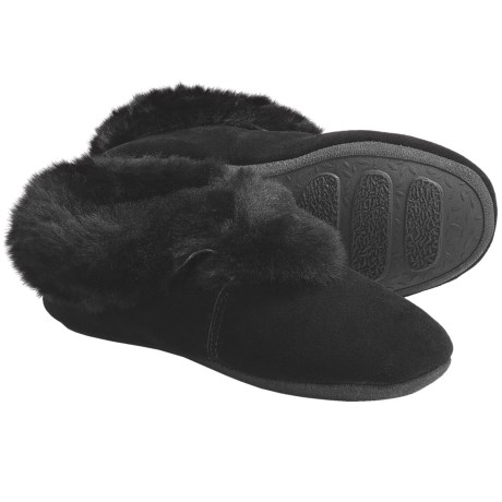 Lamo Carmen Sheepskin Slippers - Suede (For Women) in Black