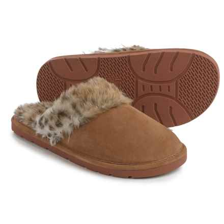 LAMO Footwear Apres Scuff Shoes - Suede, Slip-Ons (For Women) in Leapord/Chestnut - Closeouts