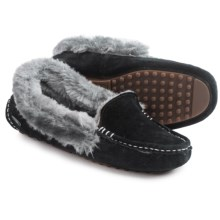 LAMO Footwear Aussie Moccasins - Suede, Faux-Fur Lined (For Women) in Black - Closeouts
