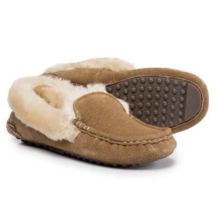 LAMO Footwear Aussie Moccasins - Suede, Faux-Fur Lined (For Women) in Chestnut - Closeouts
